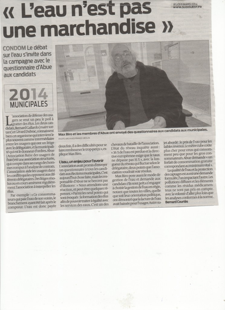 6mars journal Sud OUEST Condom