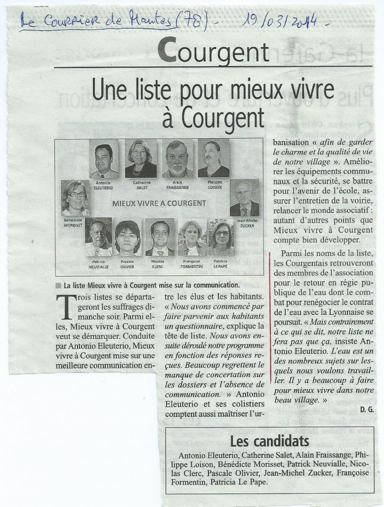 Municipales à Courgent - 78